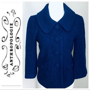 ANTHROPOLOGIE- Emmelee Wool Blend Pea COAT Jacket